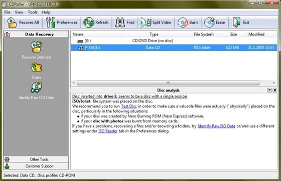 CDRoller je kvalitní nástroj na záchranu dat z různě poškozených optických médií