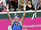 DOKON�NO JEST. Tenistka Petra Kvitov� pr�v� porazila Italku Schiavoneovou a