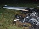 Záchranáři na místě pádu letadla u Toužimi na Karlovarsku.