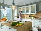 Kombinace dřeva a bílých ploch kuchyně Diamond vychází z rustikálního stylu.
