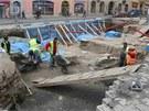 Archeologické vykopávky na olomouckém Dolním náměstí. Místo kde stál románský