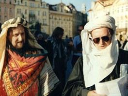 Olympic v roce 1999 při stylovém křtu alba Karavana (Milan Peroutka, Petr Janda)