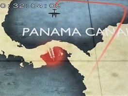 Plán náletu od východní strany Panamského průplavu