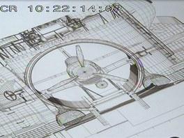 Výkres hangáru a letounu Seiran ve stejném měřítku ukazuje s jakými