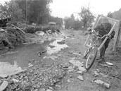 Holčovice na Bruntálsku po povodni v roce 1997.