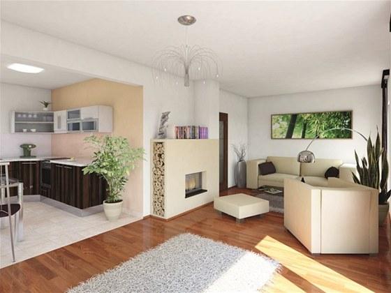 Obývací pokoj a kuchyňský kout  v  rodinném domě UNO