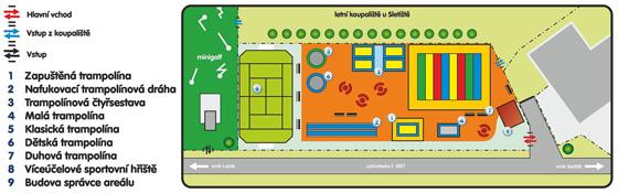 Plán areálu trampolínového parku v Kladně