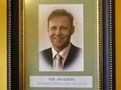 Portrét ústeckého primátora Kubaty v primátorském salonku na Větruši
