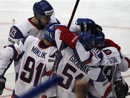 Sloven�t� hokejist� po vyrovn�v�c� brance v utk�n� proti Kanad�.