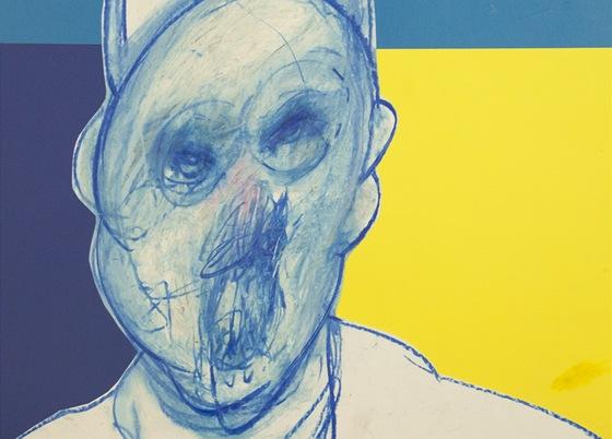 Francis Bacon - ze série Papežové (barevná koláž a olejová křída na papíře,