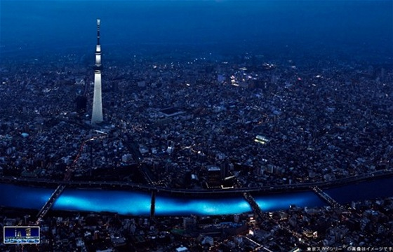 Světelná show společnosti Panasonic během festivalu Hotaru.