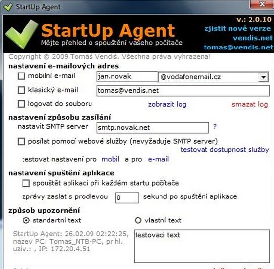 Český program StartUp Agent vám oznámí každé spuštění vašeho počítače