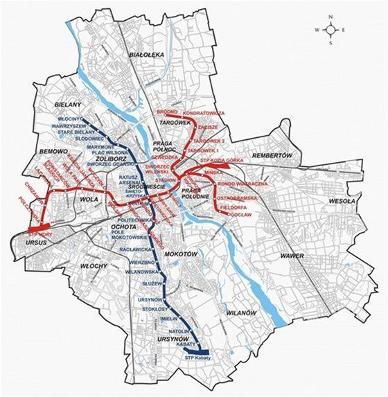 Mapa varšavského metra