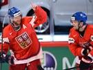 DOBRÁ PRÁCE. Ji�í Novotný a Milan Michálek slaví �eský gól, pomohl jim k n�mu...