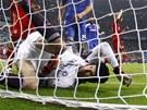 Gólman londýnské Chelsea Petr Čech po zákroku ve finále fotbalové Ligy mistrů
