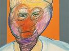 Francis Bacon - Portrét (1980-1992, barevná koláž a olejová křída na papíře,