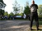 Na mítink DSSS na podporu obviněného střelce z Chotěbuzi přišlo asi třicet
