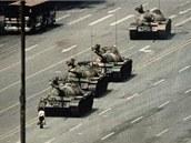 Pekingské náměstí Tchien-an-men v době protestů v roce 1989.