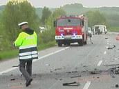 Tragická nehoda Seatu Cordoba na silnici I/16 u Plhova na Jičínsku