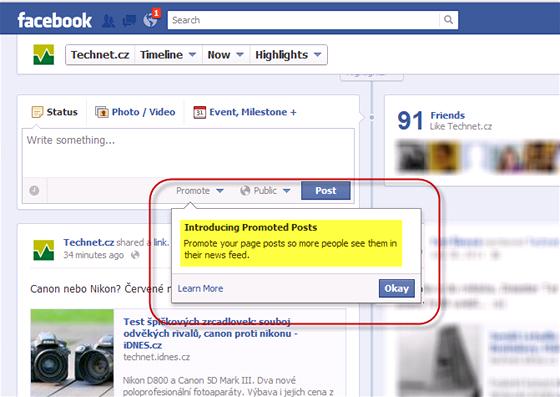 Facebook nabízí promované příspěvky - kliknutím na