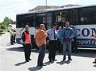 Střet drezíny a autobusu na přejezdu v Třešti
