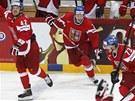 PARTY ZA�ÍNÁ. �e�tí hokejisté ská�í na led po vít�zném zápase s Finskem o...