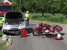Srážka Jawy 350 se sajdkárou a osobního auta v Záměli na Rychnovsku (20. května