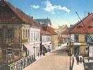 Archivní fotografie míst, kde nyní stojí obchodní dům Banco (dříve Uran).