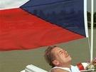Na snímku Igora Zehla se prezident Václav Havel sluní na palubě lodi cestou z