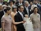 �v�dsk� princezna Victoria, jej� man�el Daniel Westling a kr�lovna Silvia na