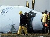 Britští vyšetřovatelé prohledávají trosky zříceného letadla v Lockerbie. (23.