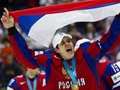 ŠAMPION. Nejužitečnější hráč mistrovství Jevgenij Malkin oslavuje zisk