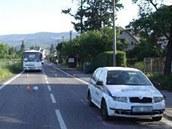 Tragické nehoda, při níž zemřela řidička mopedu ve Rtyni v Podkrkonoší. (23.