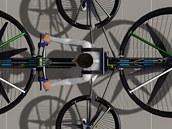 Počítačový model létajícího kola F-Bike. Z rozměru rotorů je jasné, že lidskou