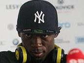 Usain Bolt hýřil na tiskové konferenci v Ostravě dobrou náladou.