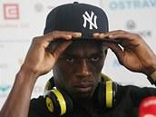 Usain Bolt  na tiskové konferenci v Ostravě