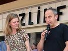 Zuzana Bydžovská a Jan Kraus u svých hvězd na zlínském chodníku slávy
