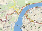 Mapka trasy Běhu pro gorily 2. června 2012
