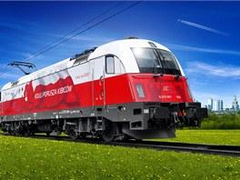 Lokomotiva EU-44 Husarz v polepu pořadatelské země  - Polska. Na boku