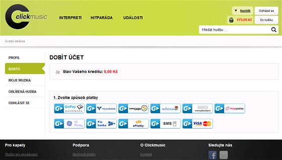 Způsobů, jak si dobít na ClickMusic kredit je mnoho.