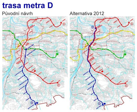 Studie Trasa D pražského metra - alternativní možnosti řešení