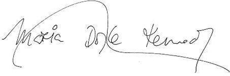Podpis herečky a zpěvačky Marie Doyle Kennedyové