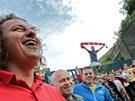 Fanou�ci Brna se se�li u trosek fotbalov�ho stadionu Zbrojovky, kdy� slavili