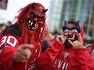 ��BELSK� �KLEBY. Fanou�k�m New Jersey Devils do sm�chu, jejich t�m ve fin�lov�