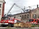 Požár v areálu keramičky Lasselsberger v Horní Bříze na Plzeňsku.