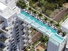 Plavání v bazénu v 38. patře bytového domu bude jen pro odvážné obyvatele.