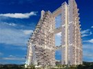 Netradiční bytový dům navrhl izraelský architekt Moshe Safdie.