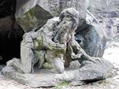 Poustevník Garinus vytesaný Matyášem Braunem.