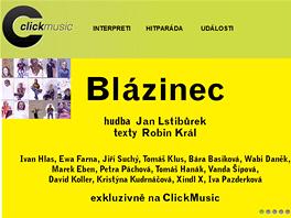 Úvodní stránka hudebního tržiště ClickMusic