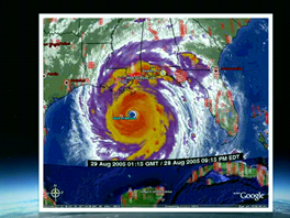 Hurikán Katrina ukázal možnosti Google Earth při záchranných akcích. Masivní